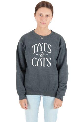 TATUAGGI /& gatti Maglione Felpa Divertente amante dei gatti TATUAGGIO TATUAGGI ossessionato Regalo