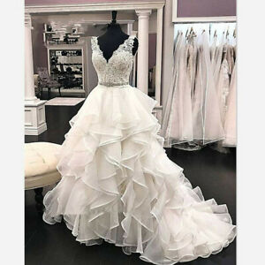 V-Neck-Wedding-Dresses-A-Line-Bridal-Gown-Lace-Top-Long-Organza-Skirt-Sleeveless