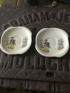2-X-Vintage-Beswick-034-Happy-Morn-034-Saucers-Rare-Replacements-Free-Uk-P-amp-P