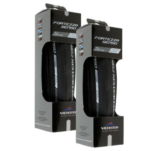 2 Pack Vredestein Fortezza Senso All Weather 700x23 Black Folding Clincher Tire