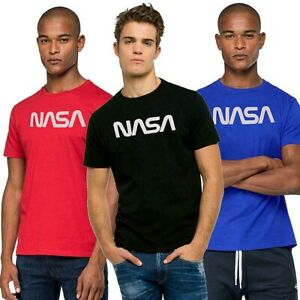 NASA-t-shirt-uomo-FASHION-QUICK-stampa-NASA-maglietta-stampata-nero-rosso-royal