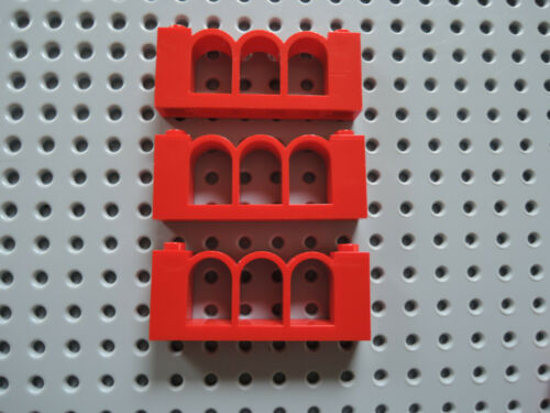 Lego 3 x Zaun Fence Brüstung 30077 rot  1x6x2