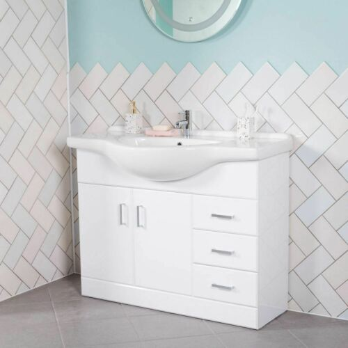 Bathroom White Floor Standing Storage or Laundry Vanity Unit with//without Basin