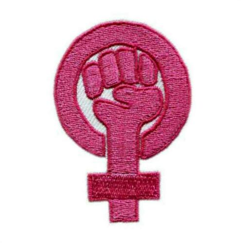"""GIRL POWER IRON ON PATCH 2.3/"""" Pink Embroidered Applique Feminist Resistance Fist"""