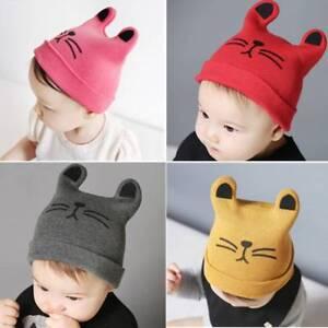 05ee4c13011 Cartoon Cute Cat Ears Baby Kids Beanie Cap Knitting Cap Autumn ...