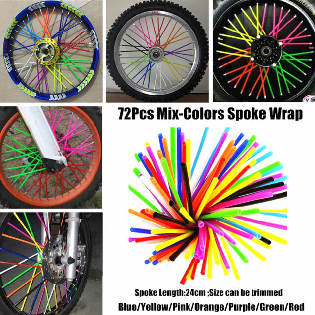 72Pcs Rainbow spoke wheel covers wraps Honda kids CRF50 CRF110F CRF125F CRF150R