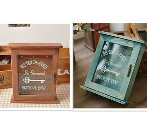 Image is loading Retro-Vintage-Wood-Key-Holder-Wall-Mounted-Key-