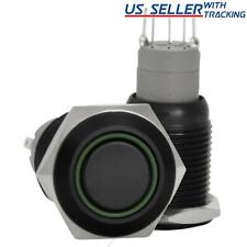 16mm Stainless Steel Latching Push Button Switch Black With Green Led