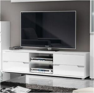 Aspire High Gloss White Tv Stand Media Unit Lounge