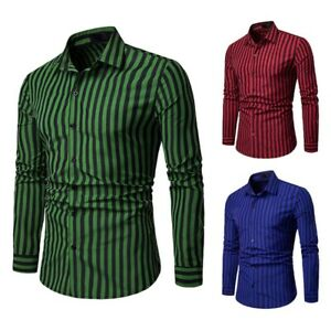 Slim-Fit-Floral-Luxury-Formal-Long-Sleeve-Business-New-Shirt-Dress-Shirts-Mens
