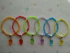Party Bag Fillers - 6 Hello Kitty Charm Faceted Beads Stretch Bracelets