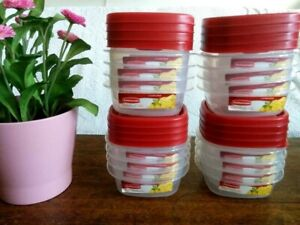 LOT 16 Rubbermaid Food Storage Containers Easy Find Red Lids 1.25 Cup Capacity