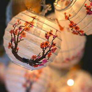 Cherry Blossom Sakura Mini Paper Lantern String Lights Japanese