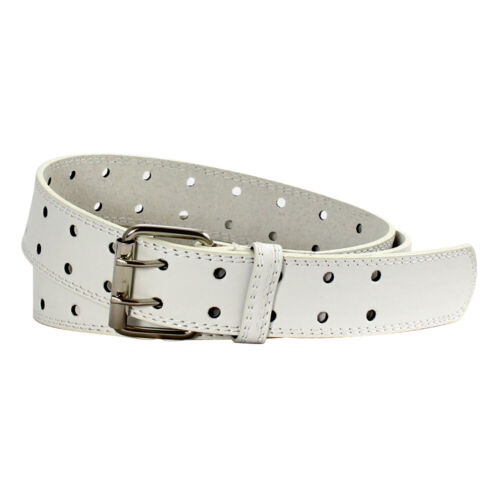 Double Prong 2//Row Full Grain Leather Dress Belt For Men Available in 4 Colors