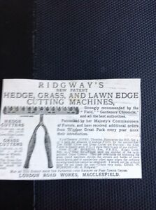 K1-8-Ephemera-Advert-1885-Ridgway-039-s-Hedge-Lawn-Cutting-Machines-Macclesfield