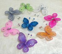 10pcs Wired Mesh Stocking Glitter Butterflies Wedding Decoration Butterfly 5cm