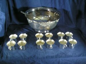 VINTAGE-WALLACE-SILVER-PLATE-HARVEST-PUNCH-BOWL-WITH-12-MATCHING-CUPS-AND-LADLE