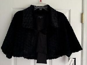 MARINA-Faux-Fur-Collared-Front-Tie-Womens-Black-Shrug-Jacket-Size-S-NWT-99