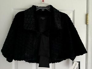 MARINA-Faux-Fur-Collared-Front-Tie-Women-039-s-Black-Shrug-Jacket-Size-S-NWT-99