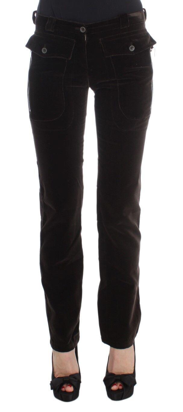 Nuovo Ermanno Scervino Pantaloni Marronee Velluto di Cotone Cerniere Slim IT40