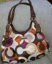 Coach Madison Maggie Op Art C Sateen purple/gray/brown/white handbag 18764 $298