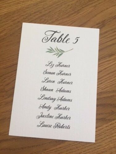 Handmade Personalised Wedding Table Numbers//Names and Table Plan Cards