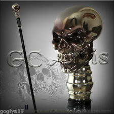 HUMAN SKULL REAL 999 SILVER PLATED TOP HANDLE WALKING STICK CANE HIKING STAFF