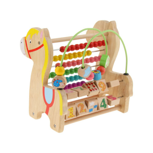 Wooden Horse Toy Revolving Block Abacus Bead Circle Maze Color Shape Puzzle