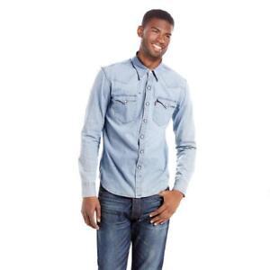 Levi-039-s-Men-039-s-Long-Sleeve-Button-Up-Barstow-Western-Denim-Dress-Shirt-3LYLW9962