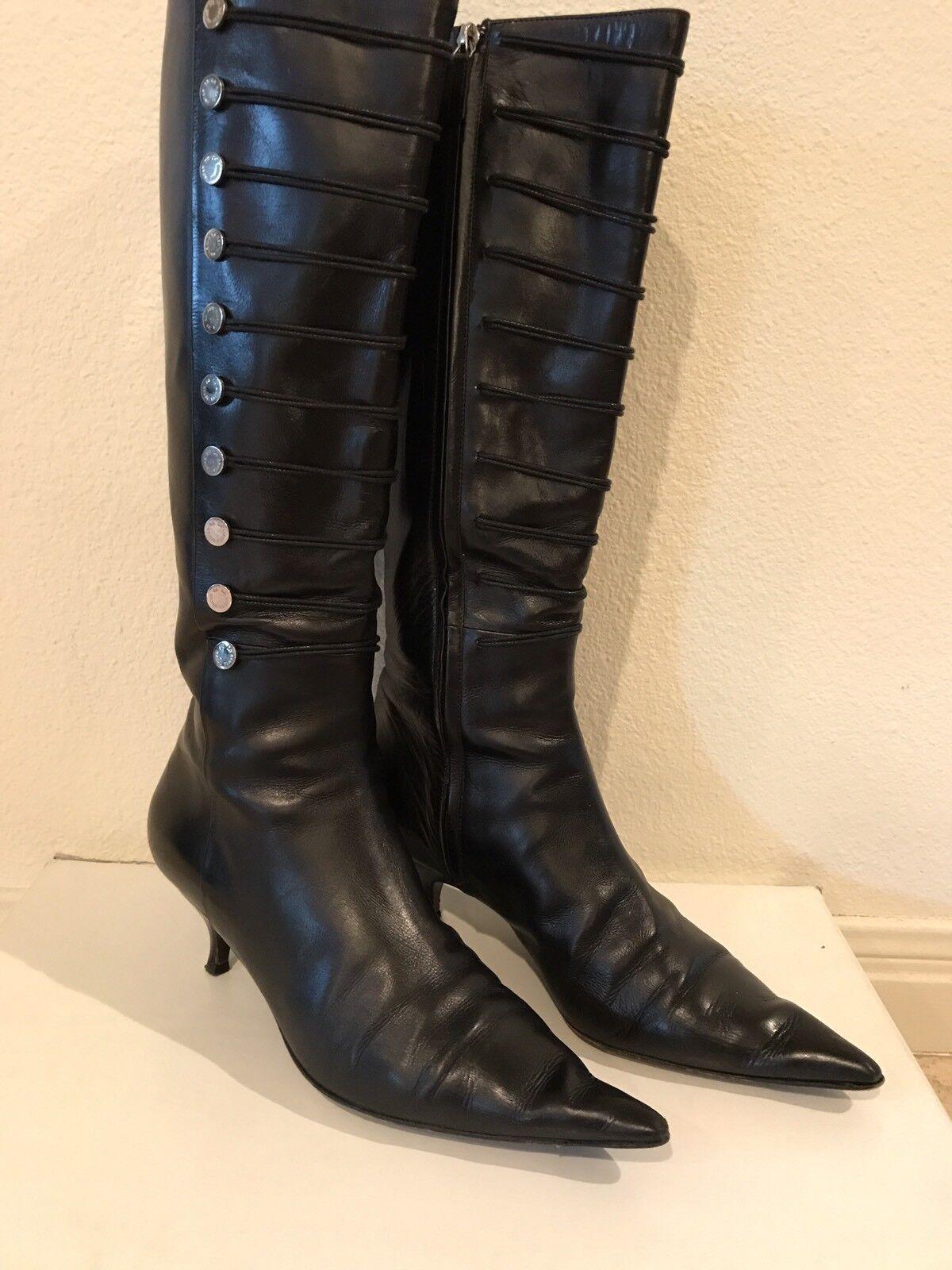 Oscae de la renta de Cuero Negro botas Hasta La Rodilla EE. UU. 9.5