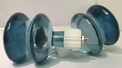 Pair of Duck Egg Blue Double Glass Effect Curtain Finials by Inspire - 623/5553