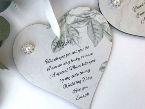 Personalised Wedding Mother Of The Bride Heart Gift Keepsake P187A//B