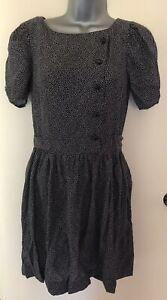 Closet-London-Black-amp-White-Ditsy-Print-Dress-With-Button-Detail-Size-10-Pockets