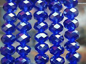100 PCS , 4 X 6 mm Faceted Dark Blue Crystal Gemstone Abacus Loose Beads