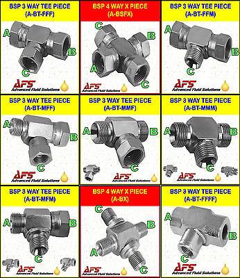 Hydraulic Steel 3-Way BSP T Piece Fitting CHOICE OF CONFIG /& Cross Hyd Adaptor