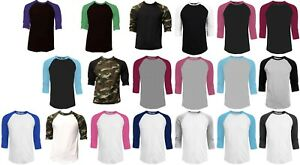 3-4-Sleeve-Plain-Baseball-Raglan-T-Shirt-Tee-Mens-Sports-Team-Jersey