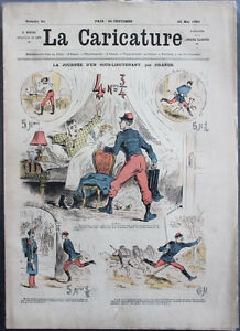 Albert-ROBIDA-Journal-LA-CARICATURE-N-21-1880-Couv-Couleur-Journee-ss-Lieutenant