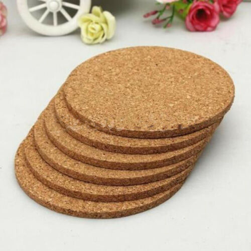 UK/_ EG/_ 6Pcs Round Cork Coasters Drink Placemat Plain Coffee Mat Tea Craft Tool