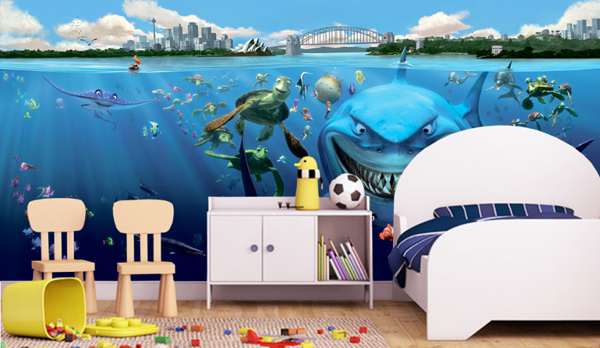 3D Urban Sea Animals 7 Wall Paper Murals Wall Print Wall Wallpaper Mural AU Kyra
