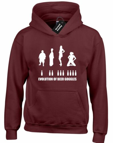 EVOLUTION OF BEER GOGGLES HOODY HOODIE DRINKING PUB BAR PARTY STAG DRUNK NOVELTY