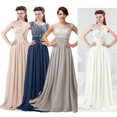FREE P&P Chiffon Prom Party Bridesmaid Homecoming Gown Evening Long Maxi Dresses