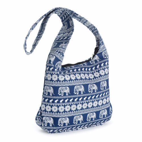 Blue White Tribal Elephant Print Cross Body Slouch Messenger Shoulder Bag Beach