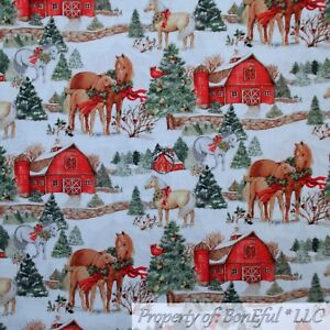 BonEful-FABRIC-FQ-Cotton-Quilt-White-Snow-Scenic-Winter-Farm-Red-Barn-Horse-Xmas