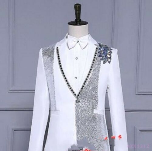 cheap HOT Suit Mens Clothing Show Coat Tuxedo Sequins Business Rhinestone Hot Dance  for cheap