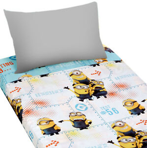 2pc-MINIONS-Testing-123-TWIN-BED-SHEETS-Despicable-Me-Kids-Bedding-Accessories
