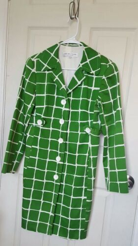 Vindues Turk Trina Sz 8 Jacket Up Check White Long Knap Trench Green v7drwvqOF