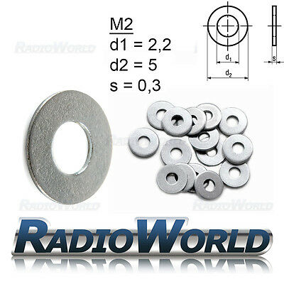 A2 Stainless Steel Round Flat Washers Bolts Screws M1 M2 M3 M4 M5 M6 M8 M10 M12