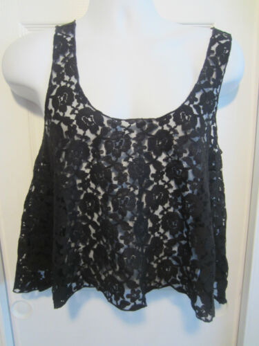 SWEET LOVE BLACK LACE SHARK BITE TANK TOP FROM HOT TOPIC DIFFERENT SIZES