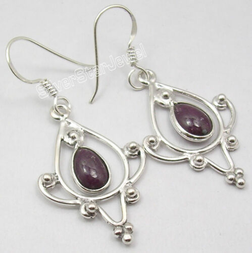 925 Argent Antique Style Boucles D/'oreilles Ruby /& Autres Pierres Précieuses variation à choisir
