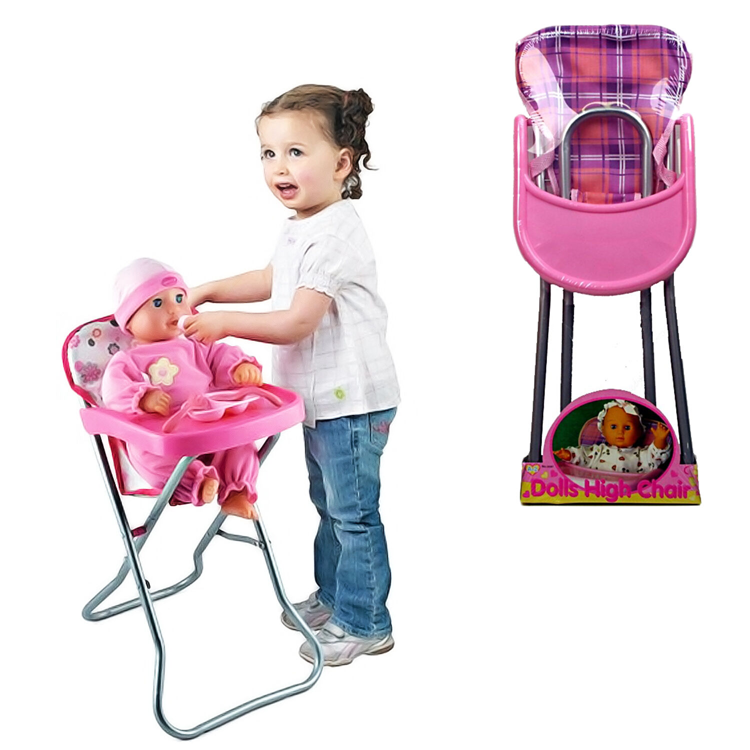 Girls Baby Doll Role Play Pink Feeding High Chair Folding